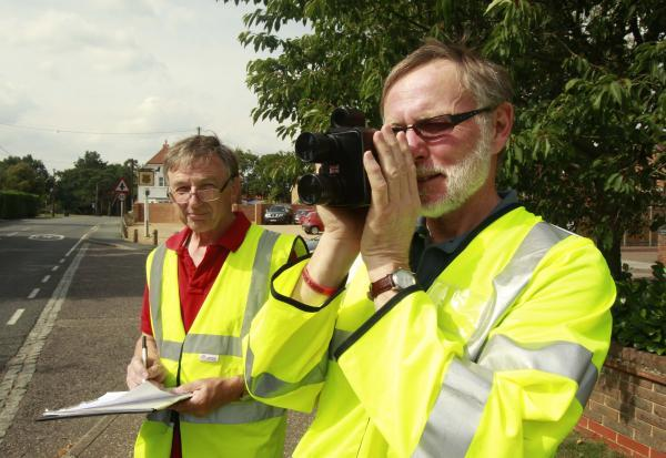 A community speed check being carried out by Ian Wardrop (l) and Stephen Nicholls (r)