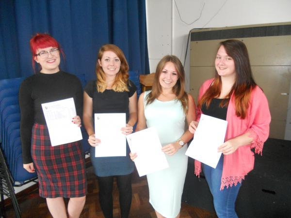 Plume students Amy Taylor, Jess Bone, Samantha Shead and Danielle Rayner-Bright with their A Level results