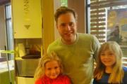 Olly Murs with delighted young fans Courtney Shaw and Ellie Chapman