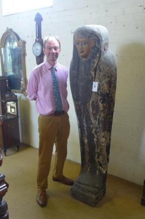 Stephen Drake with the ancient coffin lid