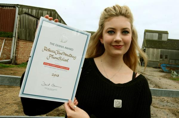 Local teenager Rebecca Houlding was awarded the Diana Award for champion fundraising