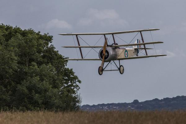 A Sopwith comes into land at Stow Maries Great War Aerodrome