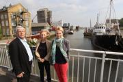 L-R Frank Bermingham, chairman of Maldon Society, Tusi Fuller, chairman of the Maldon Riverside Association, and Annabel Brown, local architect, in front of the buildings concerned.
