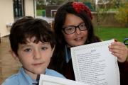Young poets Finley Walsh and Isabella Thompson
