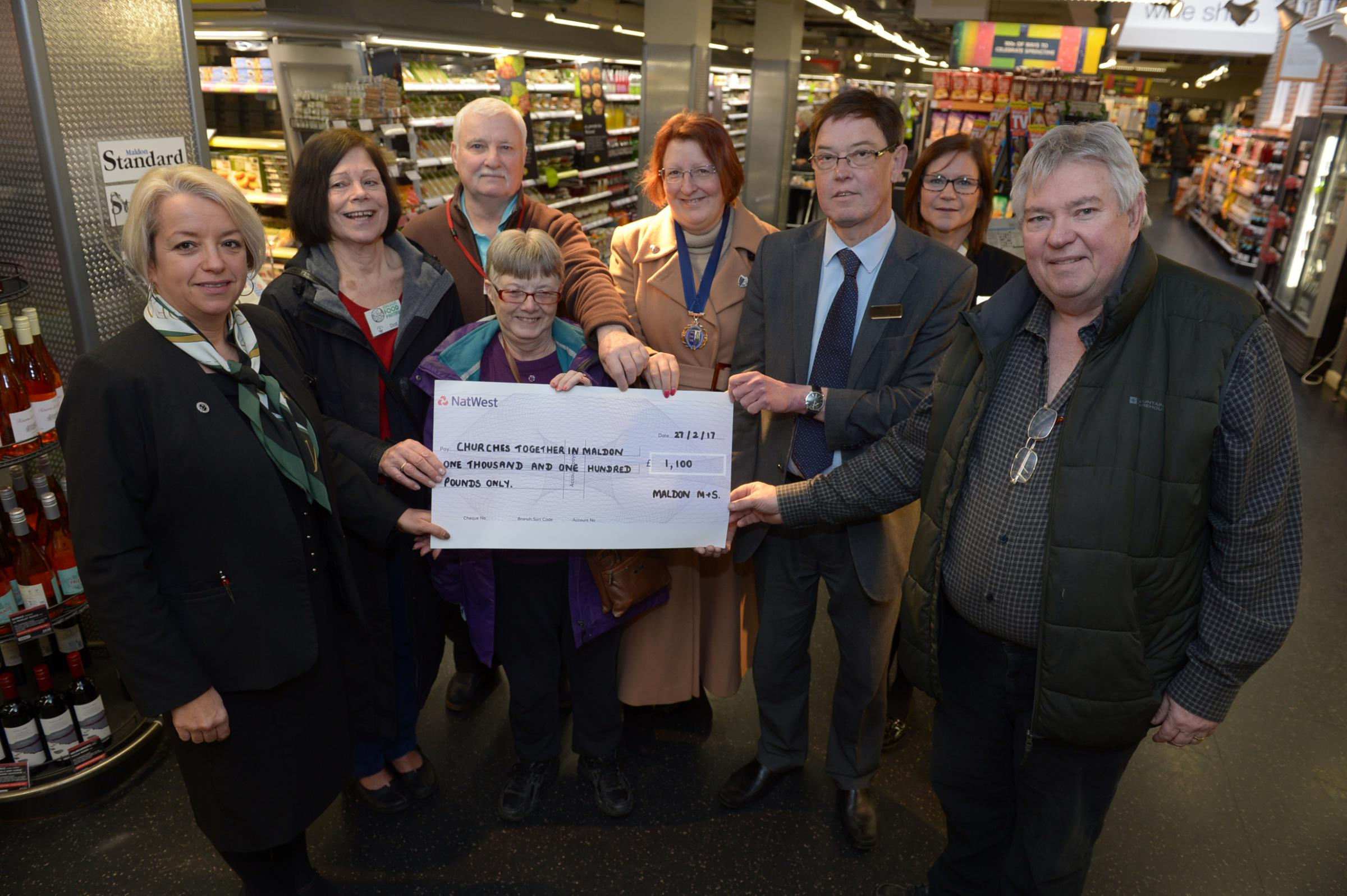 Maldon food bank receives £2,000 donation as number of people using