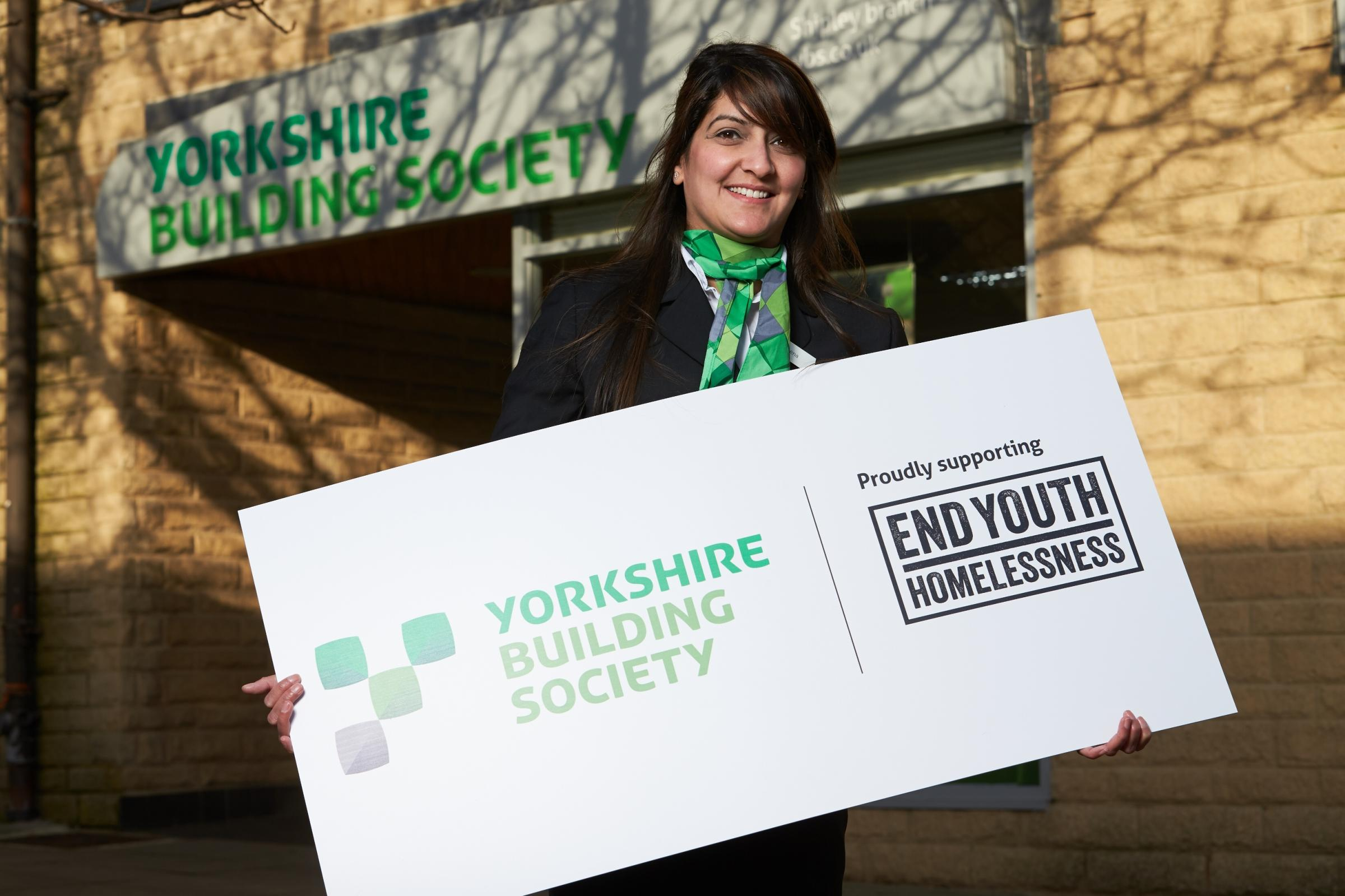 SUPPORT: Safeena Shafiq of Yorkshire Building Society. R. Pipe Insurance Consultants of Maldon High Street, an agency of YBS, is supporting their end youth homelessness campaign