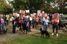 Protesters of the AA Dog Rescue Centre's closure meeting at Promenade Park