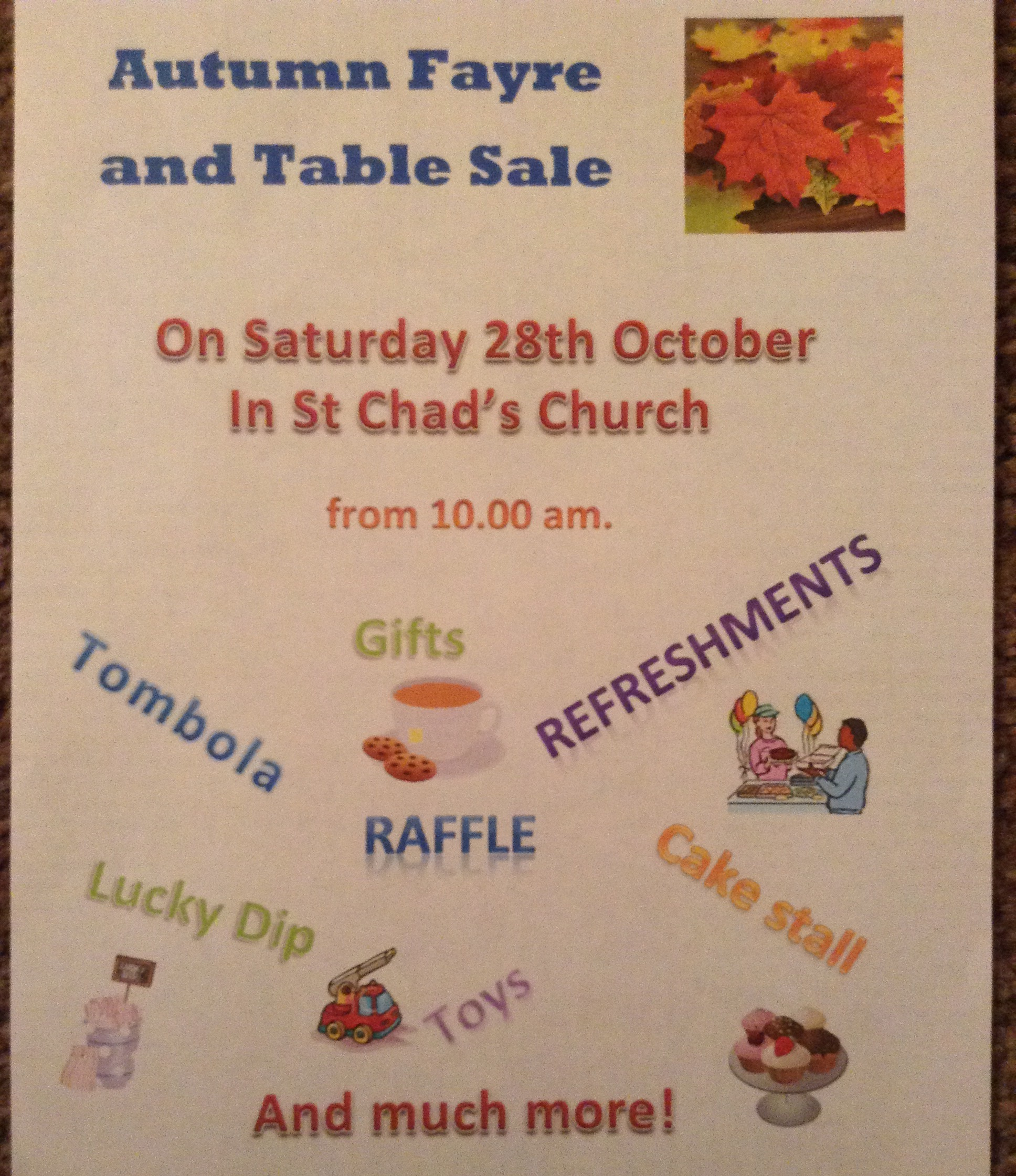 Autumn Fayre and table sale