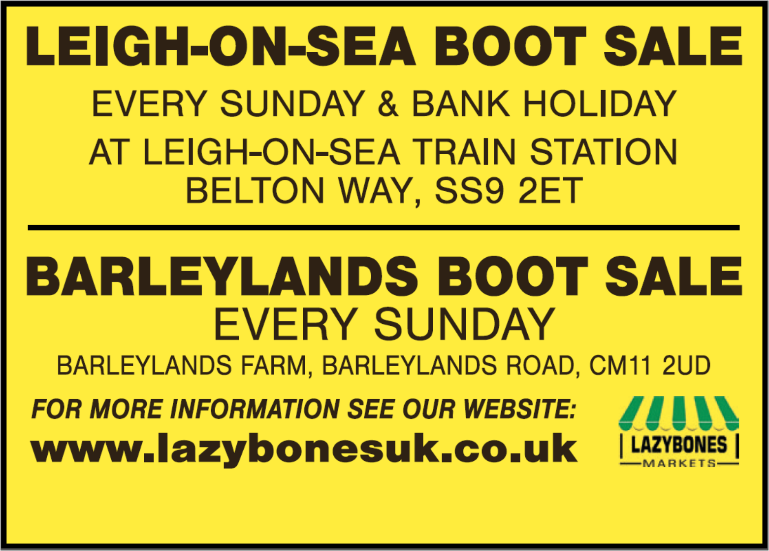 Lazybones Car Boot Sales (Barleylands & Leigh-on-Sea)