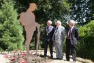 REVEAL: Councillors Andrew St Joseph, Henry Bass and Bob Boyce unveiling the Steel Soldiers in Maldon.  Picture: Mark Cleveland