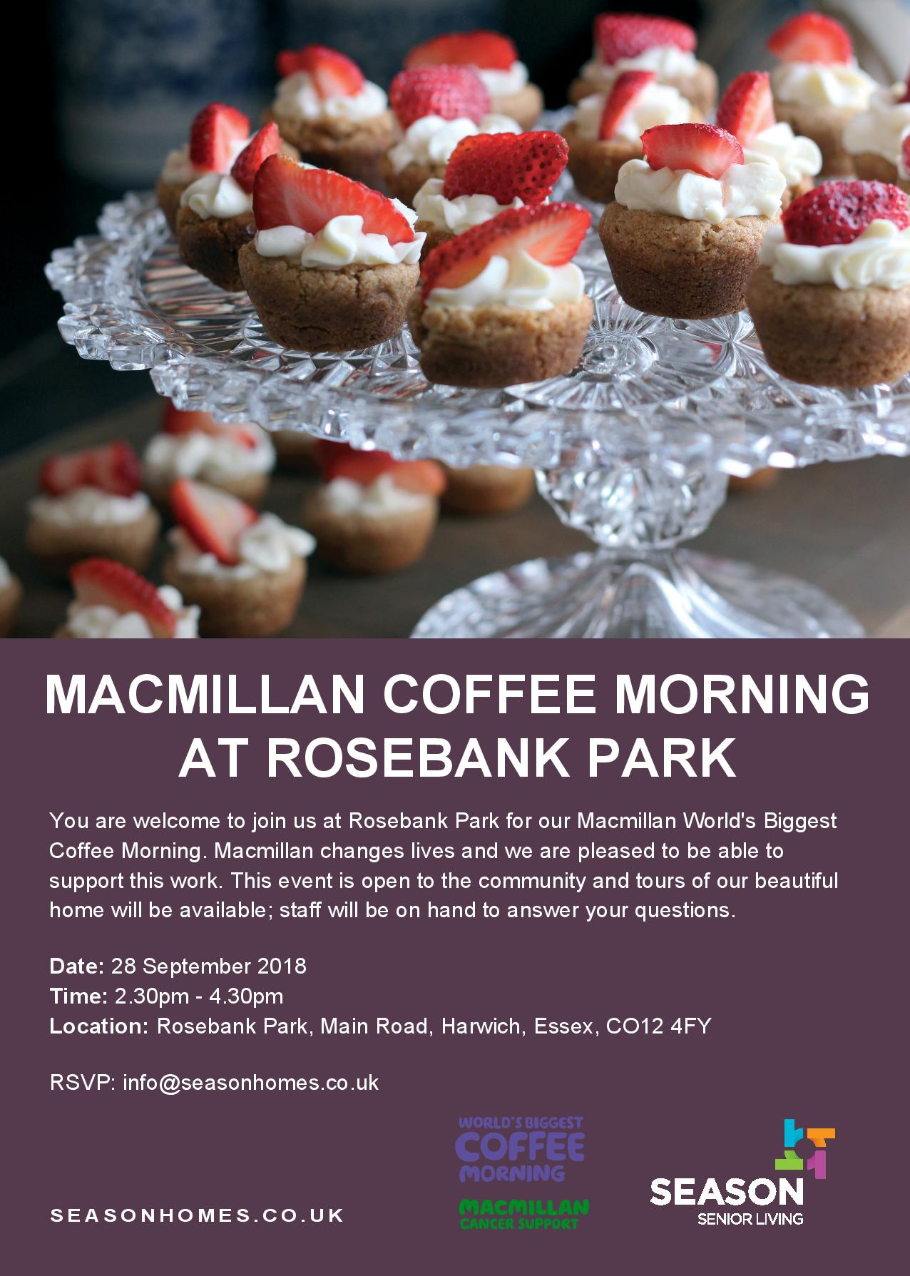 Macmillan Coffee Morning at Rosebank Park