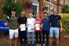 SUCCESS: A group of Year 12 boys from Plume Academy celebrate success in their AS Levels