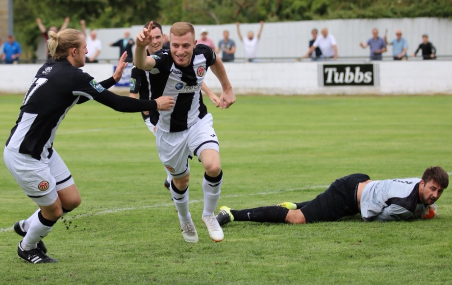 Cool customer - Sam Bantick scored a late penalty to earn Heybridge Swifts a 1-0 victory at AFC Sudbury Picture: ALAN EDMONDS