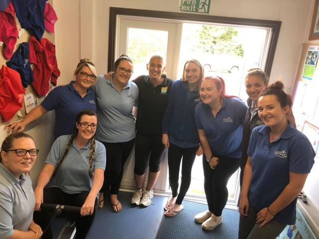 CHALLENGE: Staff at Hillside Playcare with Dawn Wood, pictured centre, after completing their challenge