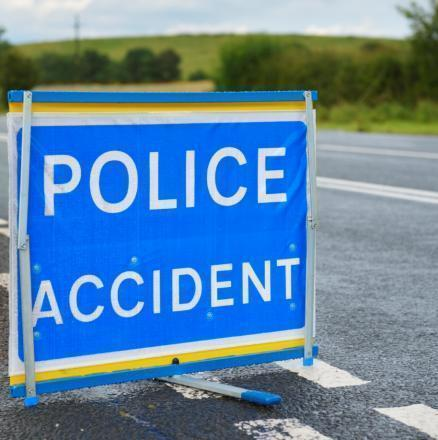 Road blocked due to four vehicle crash