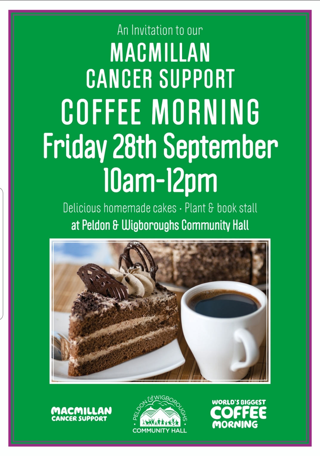An Invitation to Peldon's Macmillan Coffee Morning