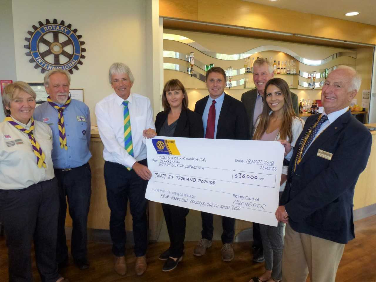 Donation - the Rotary Club of Colchester handed over cheques