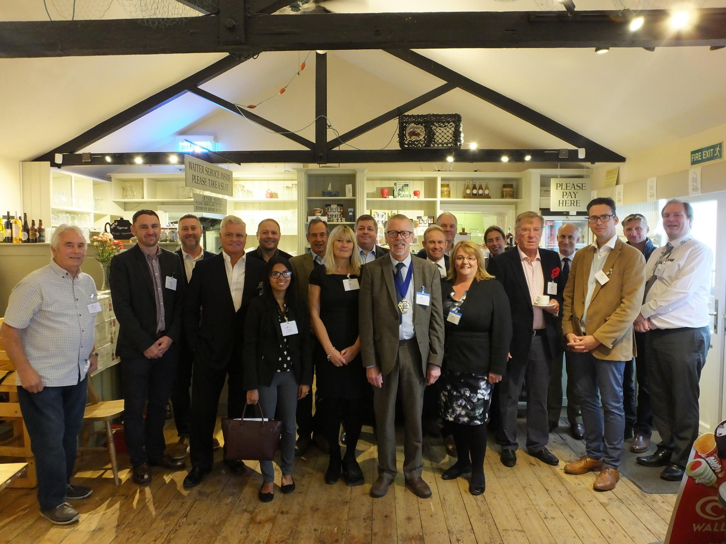 BREAKFAST MEETING: Chairman of Maldon District Council Henry Bass with business leaders at The Lock, Heybridge