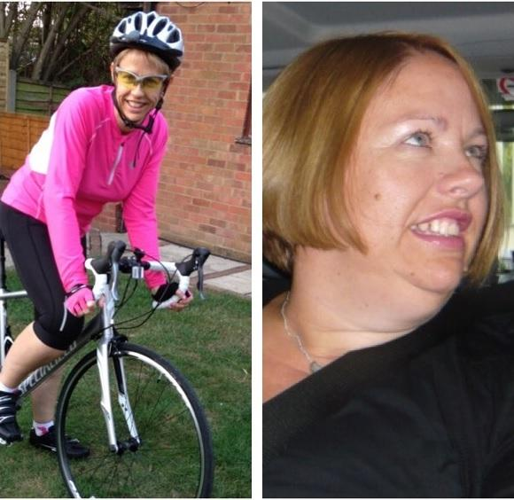 Kay Driscoll on her bike and before her weight loss