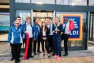 Sailing Olympic Gold medalist Saskia Clark opens the new Aldi store in Maldon with the team. 07966805565www.nickstrugnell.com/UNP