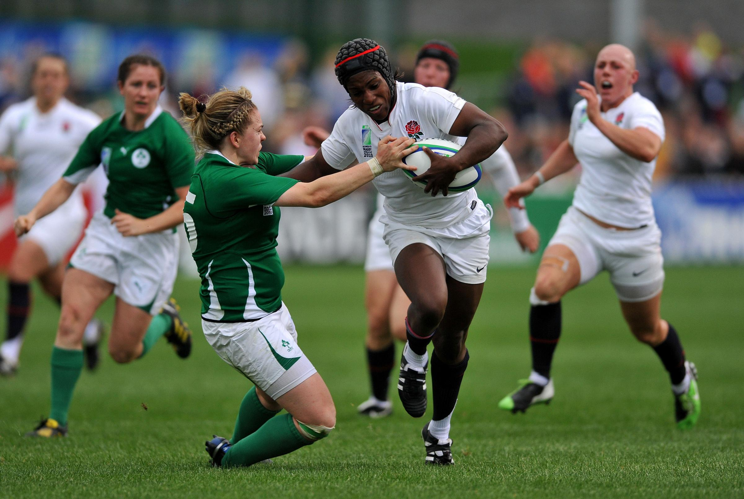 Rugby role model - Maggie Alphonsi playing for England against Ireland in the 2010 IRB Women's World Cup. Photo: Andrew Matthews/PA Photos.