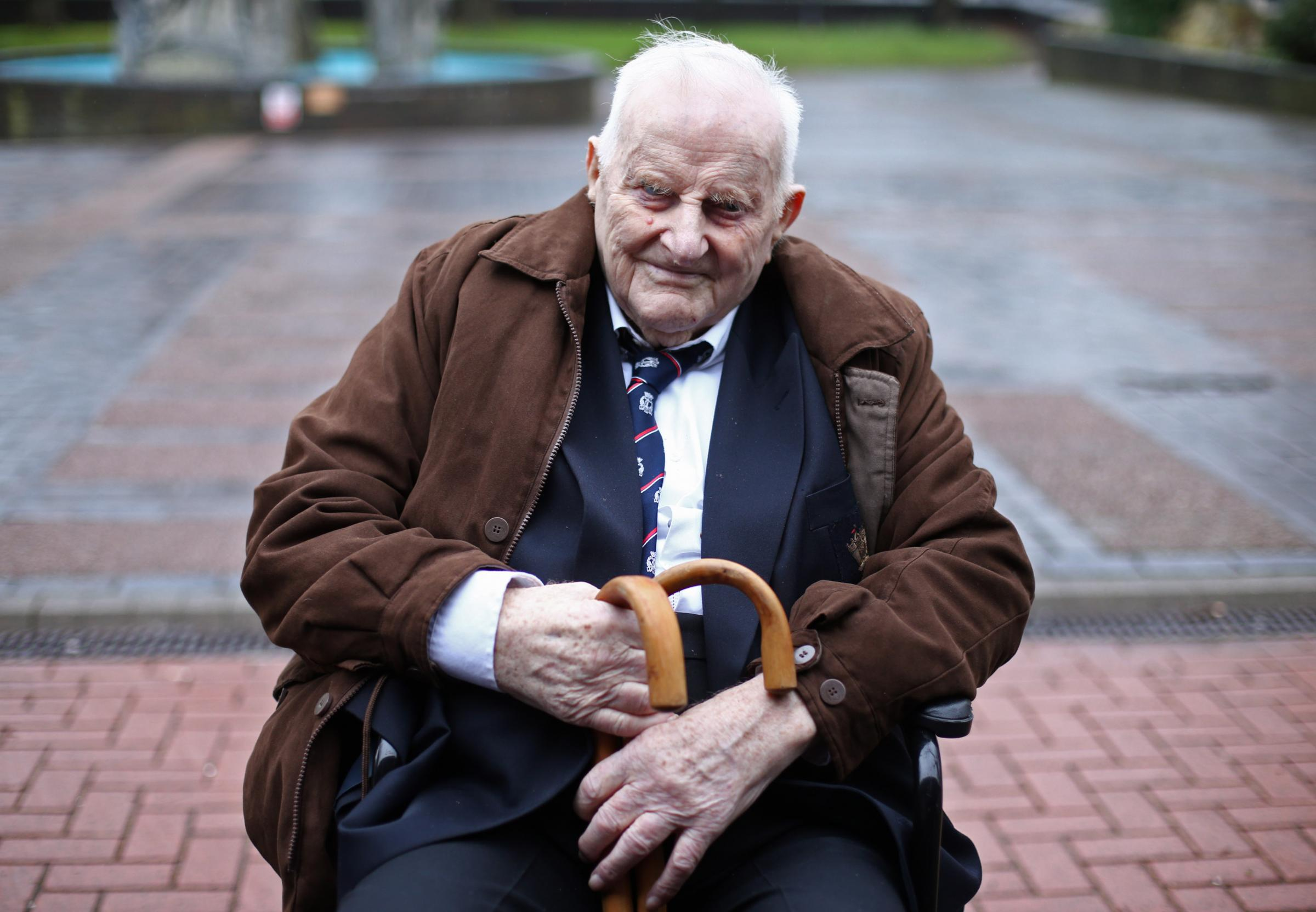 Douglas Meyers, a blind 97-year-old Second World War veteran who is battling to persuade a High Court judge to let him leave a care facility and end his life at home, leaves the court house in Southend after a hearing. PRESS ASSOCIATION Photo. Picture dat