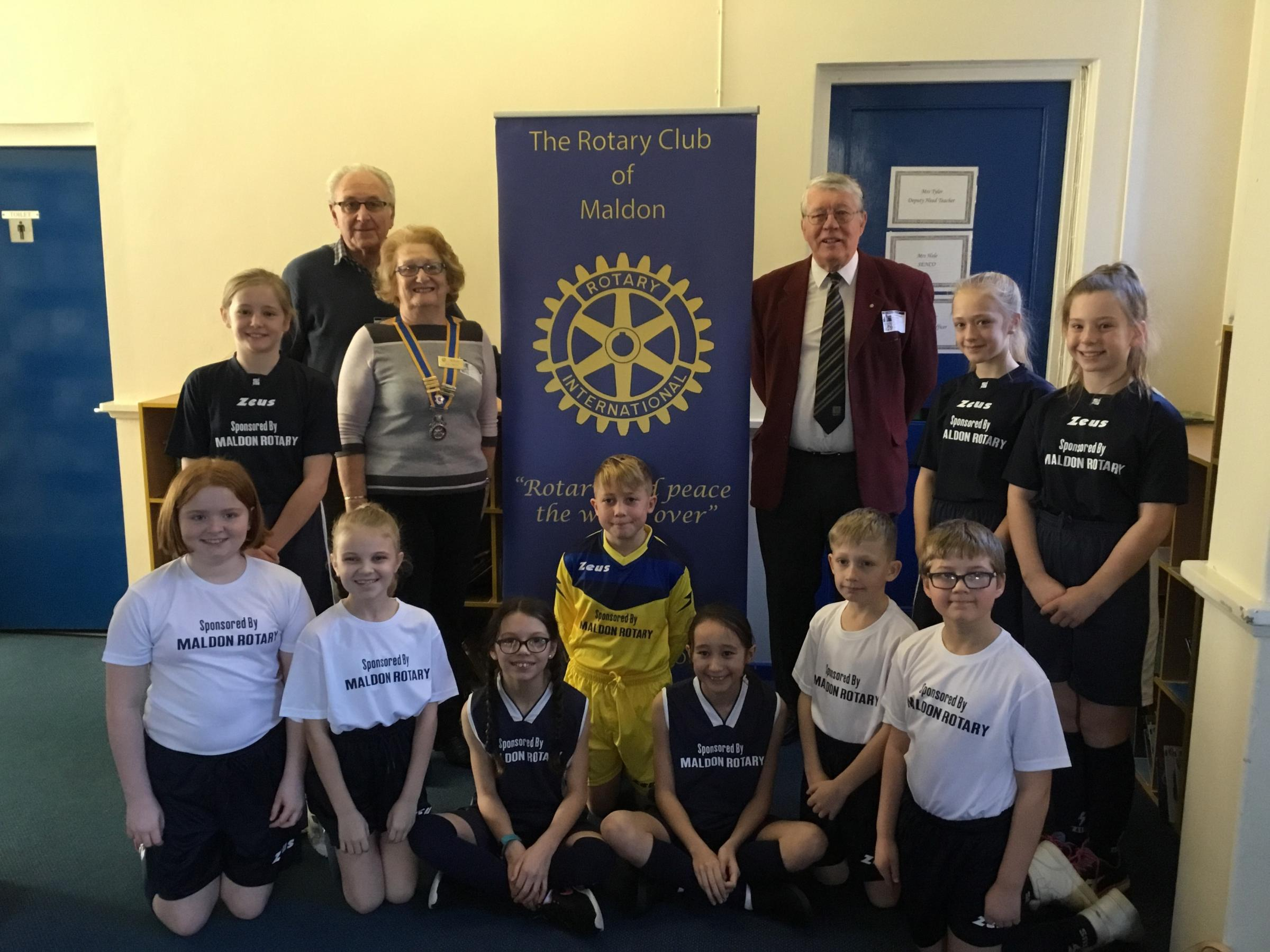 BEST KIT: Maldon Primary pupils in their new kit with Maldon Rotary members