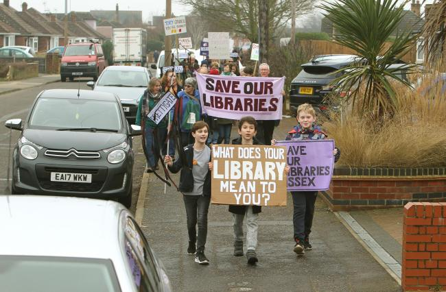 March - John Lanham Alessandro Vargas and Ben Duffield, all 10, leading the march from Prettygate Library into Colchester Town Centre