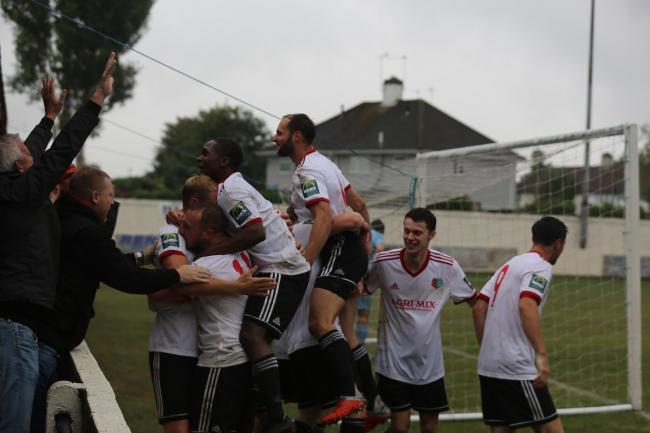 Party time - Josh Gould scored Brightlingsea's opening goal Picture: Gavin Aplin