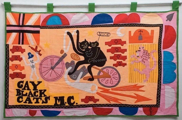 Gay Black Cat, MC - Embroidery by Grayson Perry