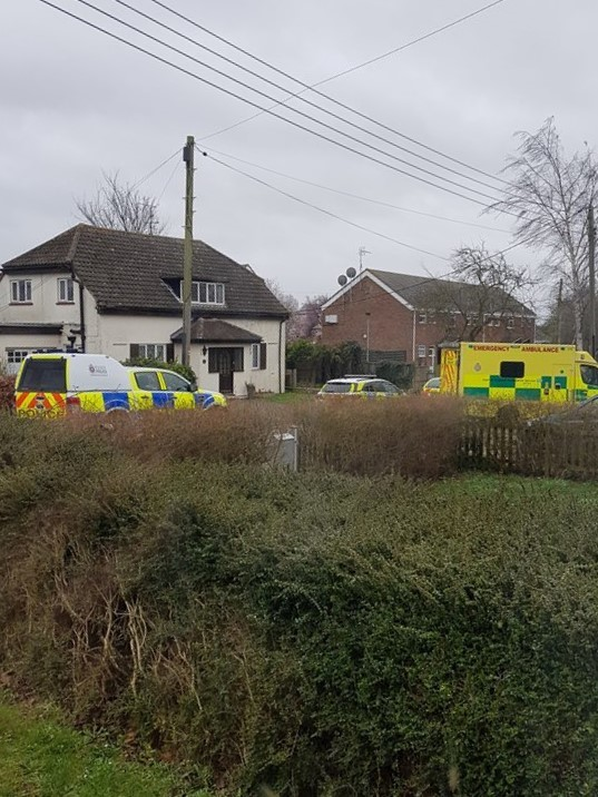 CORDONED OFF: 999 services at the scene in Park Road, Burnham, where a woman was injured on Tuesday. Picture: Denise Waller