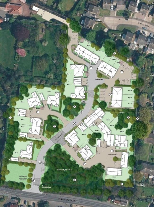 Landscape masterplan for 23 homes on land adjacent to Tollesbury Road, Tolleshunt D'arcy