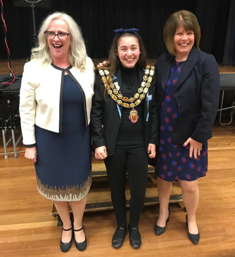 Town Mayor Wendy Stamp (left) with Tyler May and with Ormiston Head Joan Costello. Photo by Barrie Stamp
