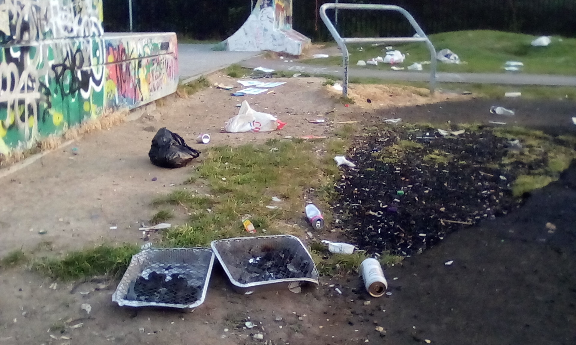 Rubbish - the skatepark after the bank holiday