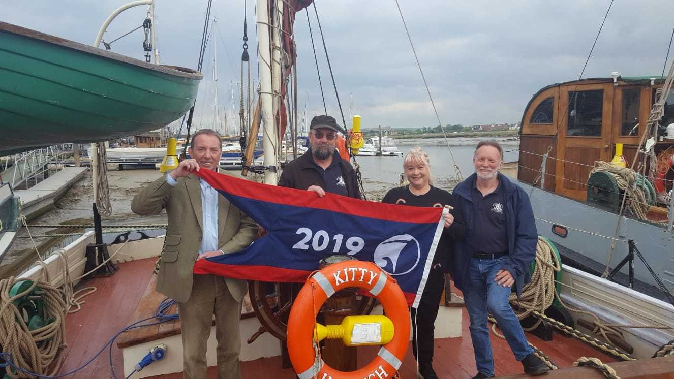 Eric Kentley, owner J P Lodge, manager Annie Meadows and skipper Kevin Burtonshaw
