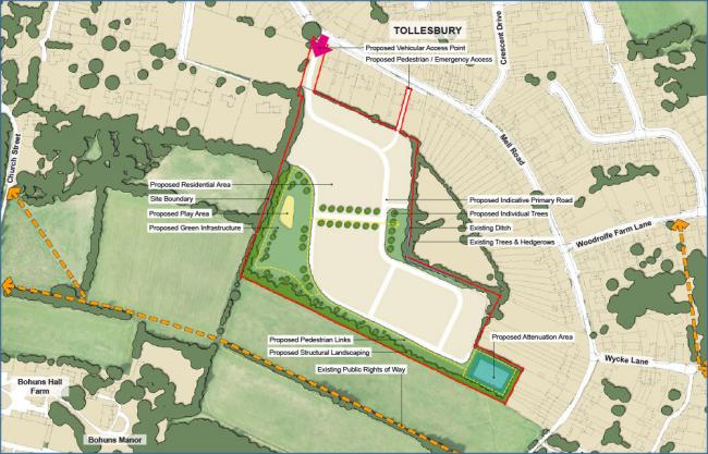 Proposed area to be used for development in Mell Road, Tollesbury